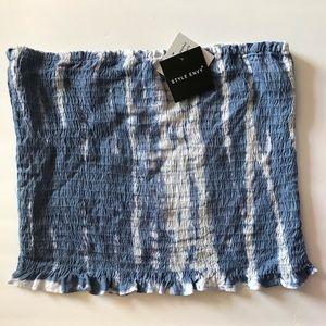 Style Envy Tie Dye Tube Top Blue Shirred Elastic
